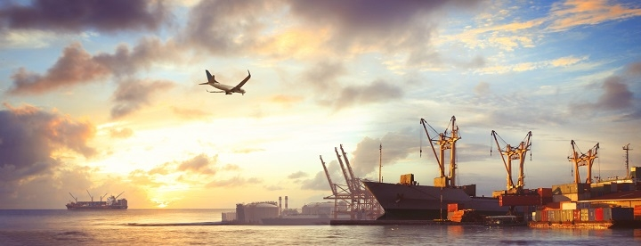 shipping yard with airplane - supply chain finance